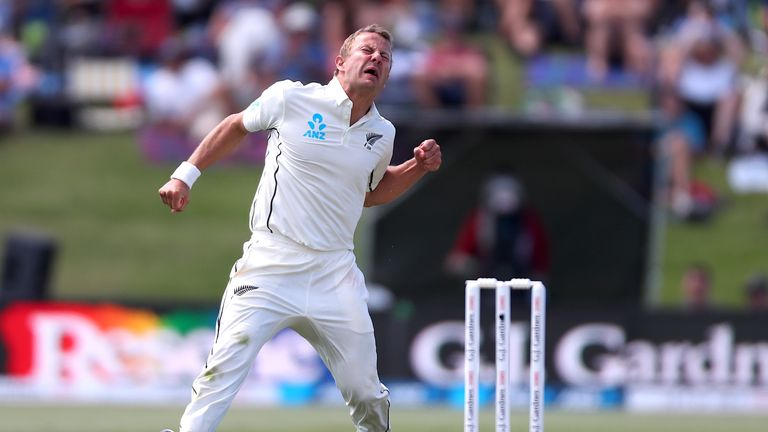 New Zealand's Neil Wagner celebrates after taking the wicket of England's captain Joe Root during the first day of the first cricket Test between England and New Zealand at Bay Oval in Mount Maunganui on November 21, 2019
