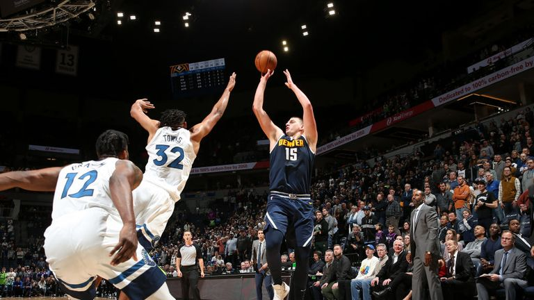 Nikola Jokic of the Denver Nuggets shoots the shot to win the game against the Minnesota Timberwolves