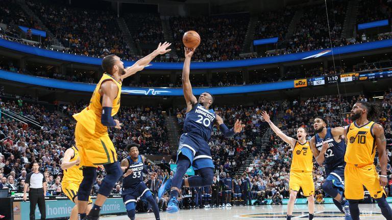 Josh Okogie of the Minnesota Timberwolves shoots the ball against the Utah Jazz