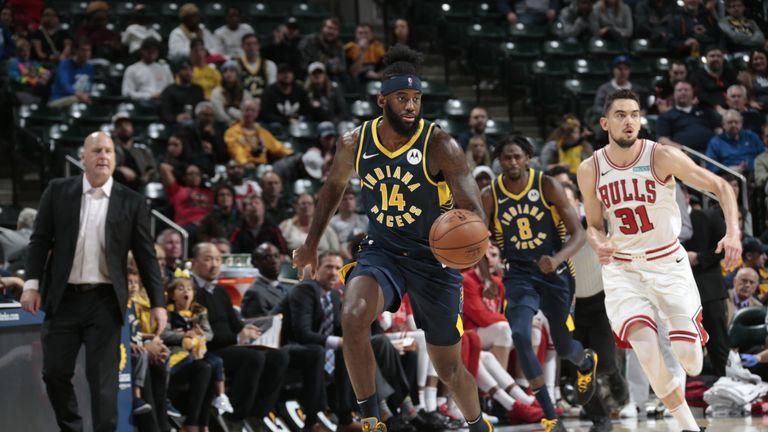 JaKarr Sampson of the Indiana Pacers handles the ball against the Chicago Bulls