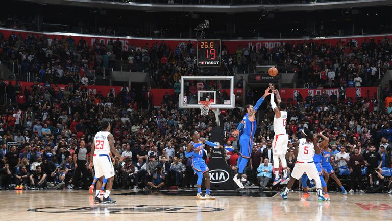 Paul George of the LA Clippers shoots the ball against the Oklahoma City Thunder