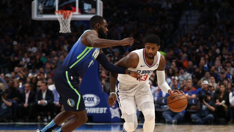 DALLAS, TEXAS - NOVEMBER 26: Paul George #13 of the Los Angeles Clippers at American Airlines Center on November 26, 2019 in Dallas, Texas. NOTE TO USER: User expressly acknowledges and agrees that, by downloading and or using this photograph, User is consenting to the terms and conditions of the Getty Images License Agreement. (Photo by Ronald Martinez/Getty Images)