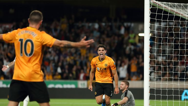 Neto celebrates his debut goal against FC Pyunik in the Europa League