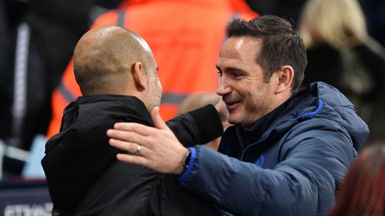 Pep Guardiola greets Frank Lampard before kick-off