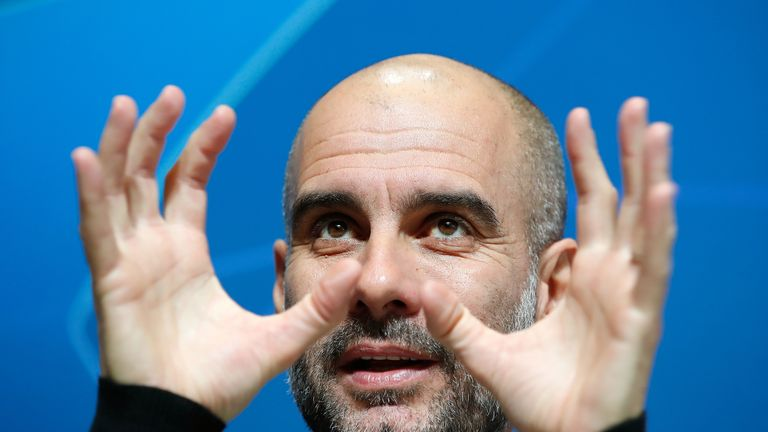 Pep Guardiola during a Manchester City press conference at the City Football Academy
