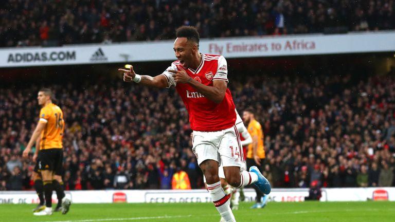 Pierre-Emerick Aubameyang celebrates his opener against Wolves