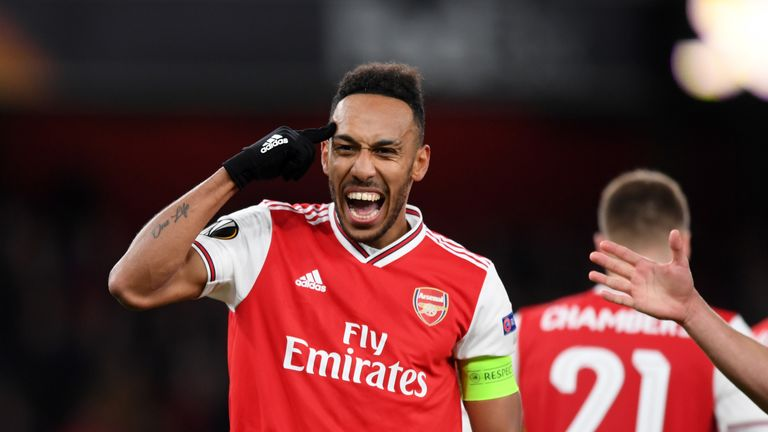 Pierre-Emerick Aubameyang of Arsenal celebrates after scoring his team's first goal during the UEFA Europa League group F match between Arsenal FC and Eintracht Frankfurt