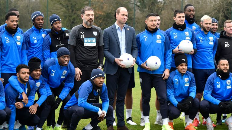 Prince William visited the West Brom squad last week as part of the campaign