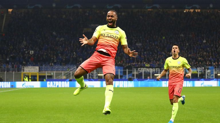 Raheem Sterling celebrates after scoring for Manchester City against Atalanta