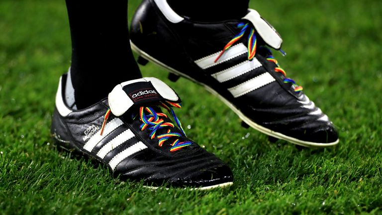 Huddersfield Town v Swansea City - Sky Bet Championship - John Smith's Stadium Rainbow laces in support of the Stonewall campaign before the Sky Bet Championship match at John Smith's Stadium, Huddersfield. 26 November 2019