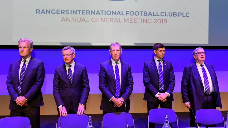 King with manager Steven Gerrard at the Rangers AGM