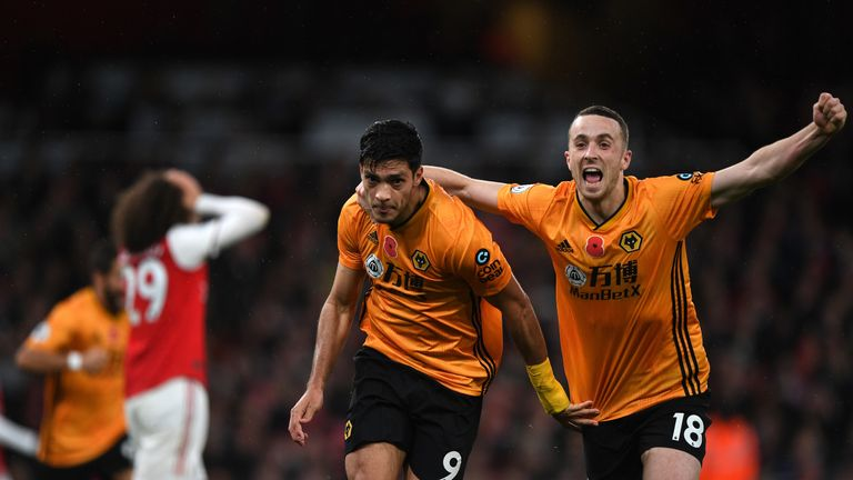 Wolves striker Raul Jimenez celebrates after scoring the equaliser against Arsenal at the Emirates Stadium