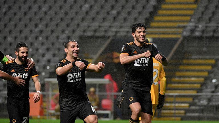 Raul Jimenez celebrates after scoring for Wolves against Braga