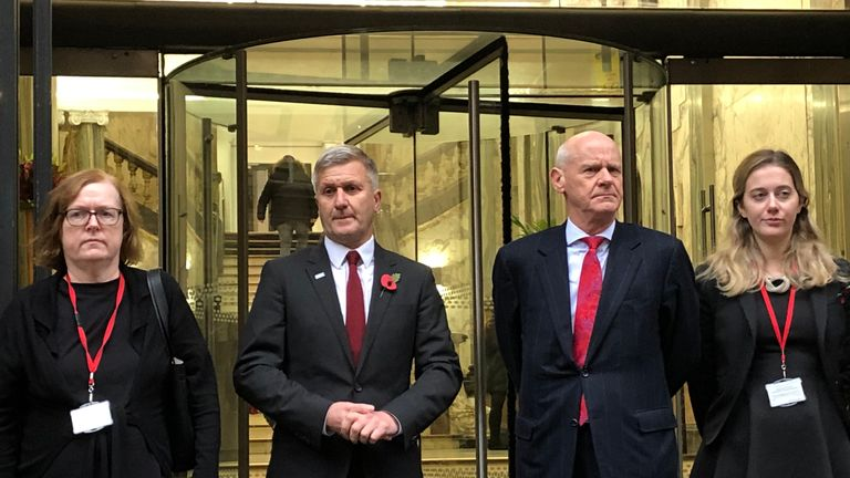 Freeman (second left) with his QC, Mary O'Rourke (left), and his defence team