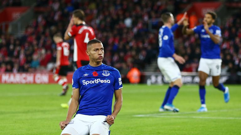 Richarlison slides to his knees in celebration after making it 2-1 against Southampton at St Mary's