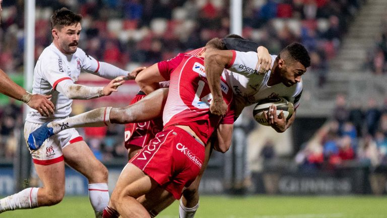 Ulster's Robert Baloucoune looks to get through the Scarlets defence