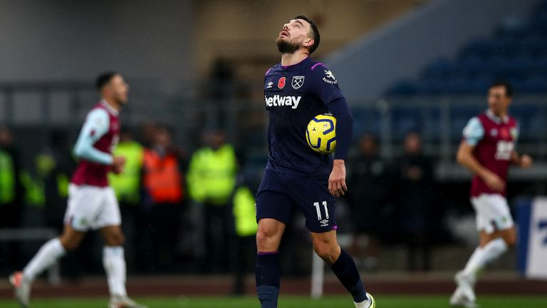 Robert Snodgrass cuts a dejected figure during the 3-0 loss at Burnley