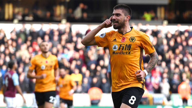 Ruben Neves celebrates after scoring the opener against Aston Villa