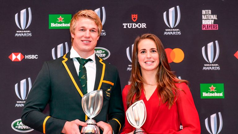 Pieter-Steph du Toit and Emily Scarratt at the World Rugby Awards in Tokyo on Sunday