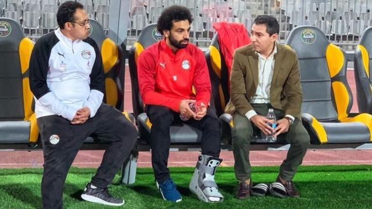 Mohamed Salah wearing a protective boot as he is sidelined from Egypt training (credit: Egypt FA)