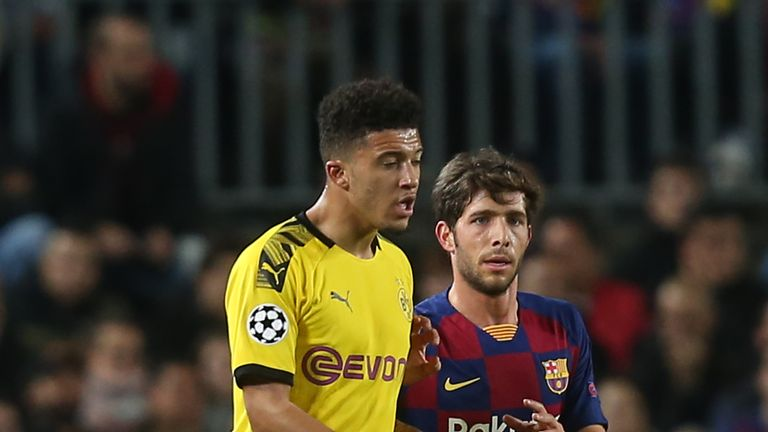 Sancho scored a consolation goal in Dortmund's 3-1 defeat to Group F frontrunners Barcelona