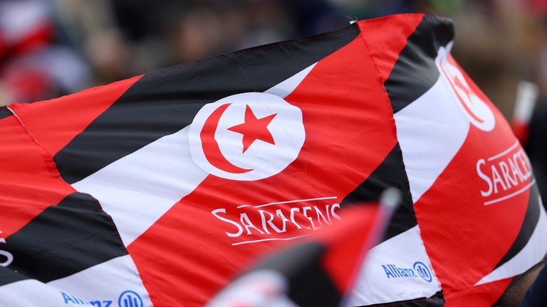 Saracens flags fly during the Gallagher Premiership Rugby match between Saracens and Newcastle Falcons at Allianz Park on April 06, 2019 in Barnet, United Kingdom