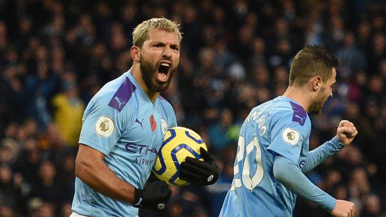 Sergio Aguero celebrates his equaliser vs Southampton