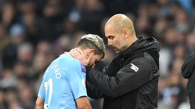 Sergio Aguero came off with an injury during Manchester City's win against Chelsea