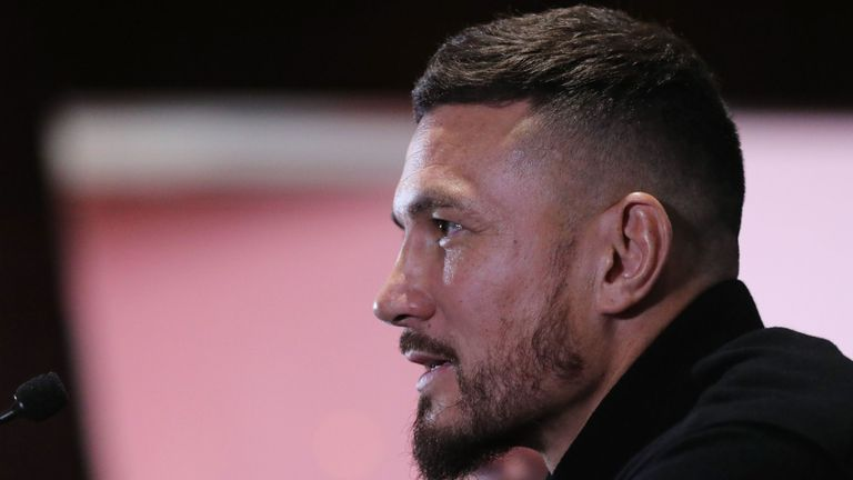 Former New Zealand international Sonny Bill Williams takes part in a press conference at the Emirates stadium in London on November 14, 2019 at his unveiling as a player for Rugby Super League team Toronto Woolfpack. (P