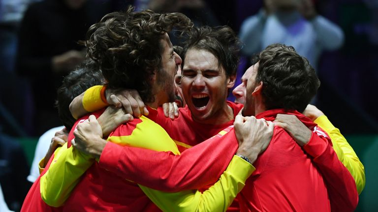 Rafa Nadal celebrates with Spain after winning the Davis Cup in 2019