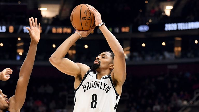 : Spencer Dinwiddie #8 of the Brooklyn Nets shoots during the second half against the Cleveland Cavaliers at Rocket Mortgage Fieldhouse on November 25, 2019 in Cleveland, Ohio. The Nets defeated the Cavaliers 108-106.