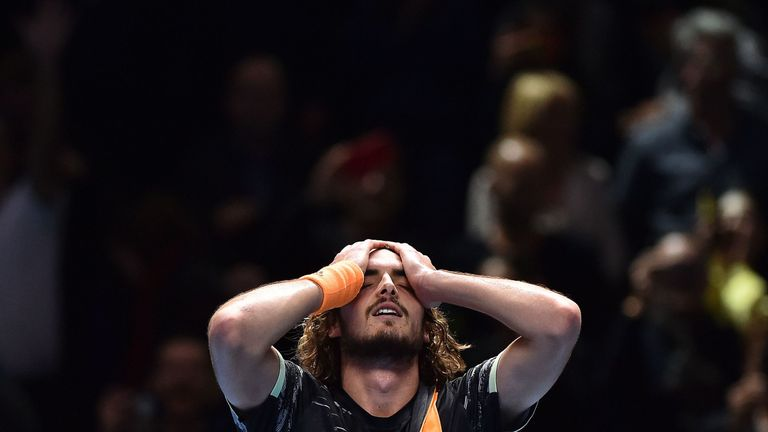 Stefanos Tsitsipas of Greece celebrates victory after his singles final match against Dominic Thiem of Austria during Day Eight of the Nitto ATP World Tour Finals at The O2 Arena on November 17, 2019 in London, England