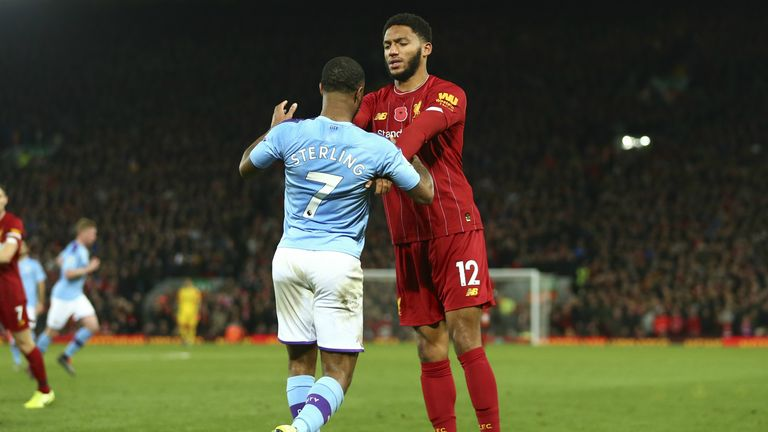 Sterling and Gomez clash.