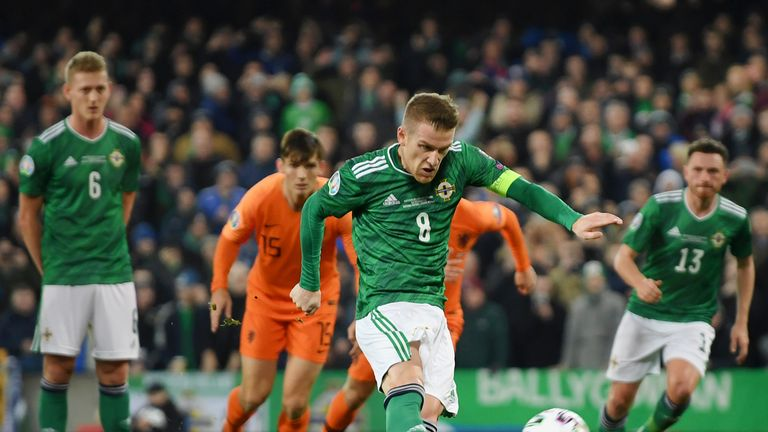 Steven Davis misses a penalty against Netherlands