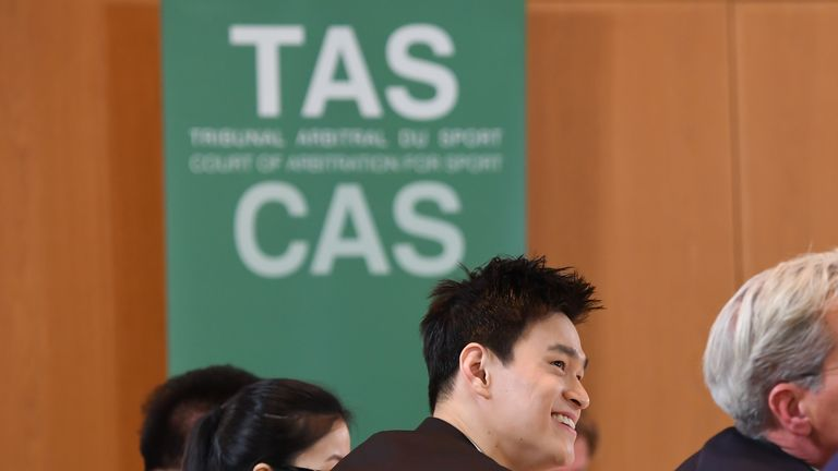 Chinese swimmer Sun Yang is appearing at a CAS hearing