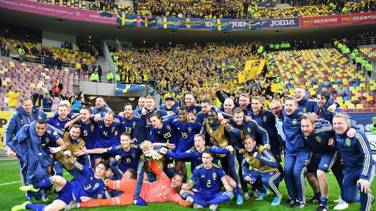 Sweden celebrate after securing their ticket to Euro 2020
