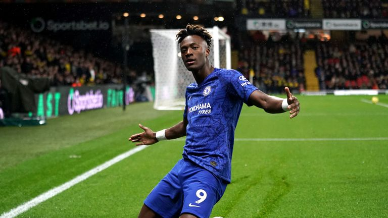 Chelsea's Tammy Abraham celebrates scoring his side's first goal of the game at Vicarage Road