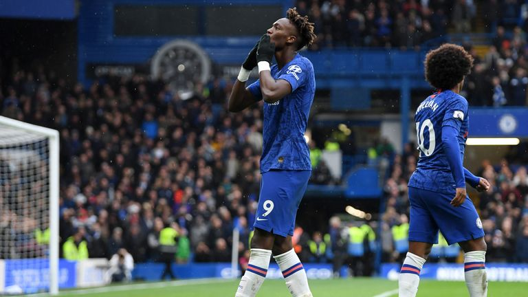Tammy Abraham gestures towards the crowd after putting Chelsea ahead