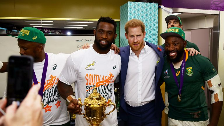 Mtawarira and South Africa captain Siya Kolisi met Prince Harry after their World Cup triumph