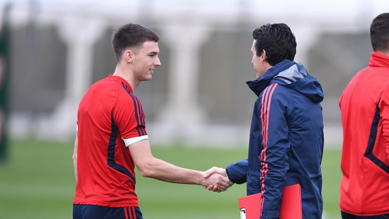 Tierney says Emery is helping develop his technique on the training pitch