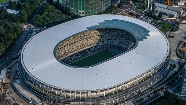 The New National Stadium in Tokyo is complete for the 2020 Olympics