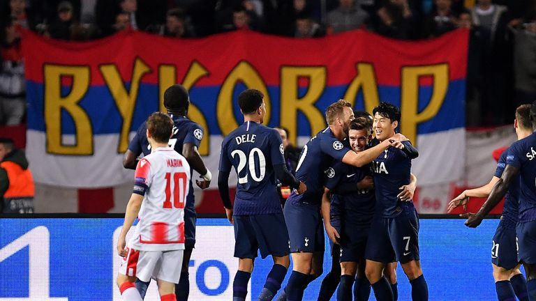 Giovani Lo Celso celebrates with team-mates after putting Tottenham ahead at Red Star Belgrade