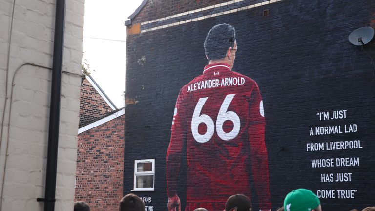 Liverpool fans have created a mural of Alexander-Arnold near Anfield