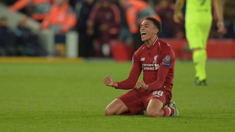 Alexander-Arnold celebrates after Liverpool knocked Barcelona out of the Champions League semi-finals