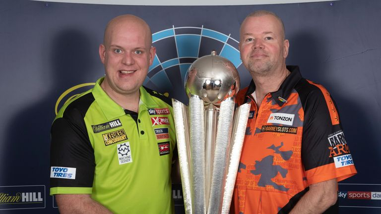 WILLIAM HILL PDC WORLD CHAMPIONSHIP  2019.MEDIA DAY.RILEYS,HAYMARKET,.LONDON.PIC;LAWRENCE LUSTIG.WORLD CHAMPION MICHAEL VAN GERWEN AND 5 TIME WORLD CHAMPION RAYMOND VAN BARNEVELD  LAUNCH THIS YEARS WILLIAM HILL WORLD CHAMPIONSHIP AT LONDONS ALEXANDRA PALACE FROM DEC 13TH TO JAN 1ST 2020 LIVE ON SKY SPORTS DARTS