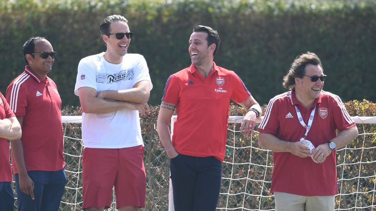 Arsenal Managing Director Vinai Venkatesham with Josh Kroenke of KSE, Technical Director Edu and Head of Football Relations Raul Sanllehi