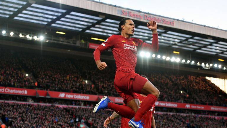 Van Dijk celebrates scoring his first goal against Brighton