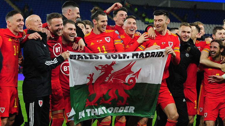 Wales celebrate at full time during the UEFA Euro 2020 Group E Qualifier match between Wales and Hungary at the Cardiff City Stadium on November 19, 2019 in Cardiff, Wales