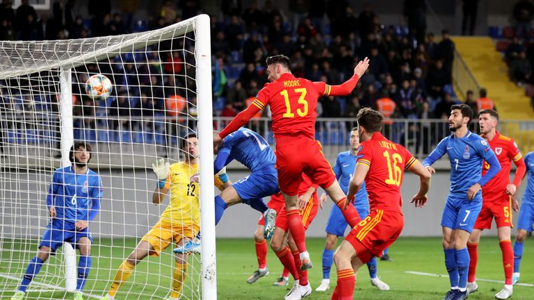 Kieffer Moore heads Wales ahead against Azerbaijan