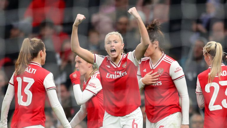 Arsenal's 2-0 win at the Tottenham Hotspur stadium puts them level with second placed Chelsea in the Women's Super League.